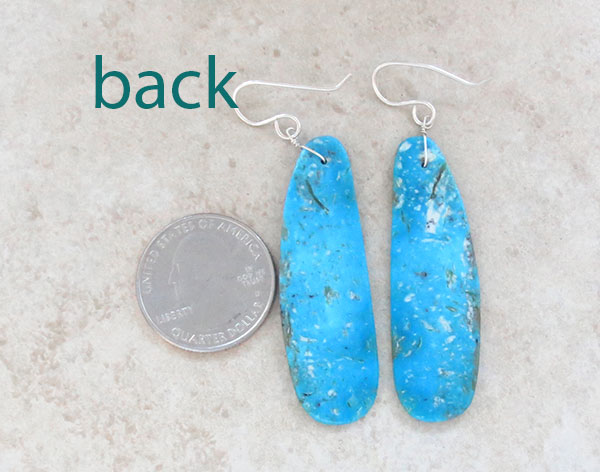 Image 2 of   Large Turquoise Slab Earrings Native American Jewelry - 5013rio