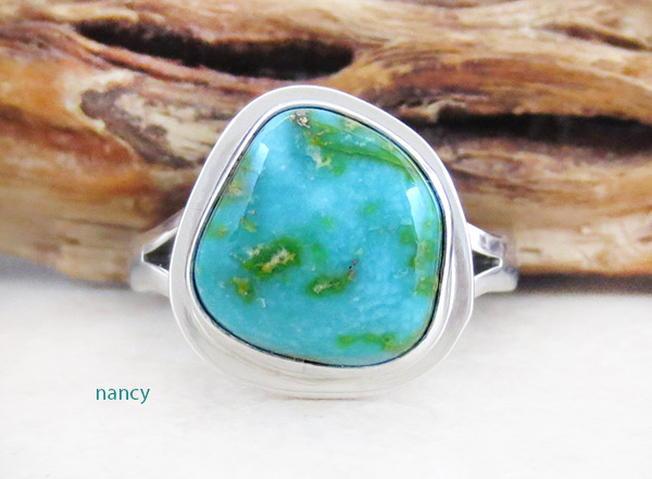 Image 0 of Turquoise & Sterling Silver Ring Sz 9 Native American Made Jewelry - 4931sn