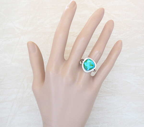 Image 1 of Turquoise & Sterling Silver Ring Sz 9 Native American Made Jewelry - 4931sn
