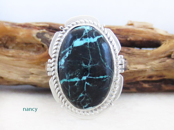 Turquoise & Sterling Silver Ring Sz 8 Native American Jewelry - 3372sn