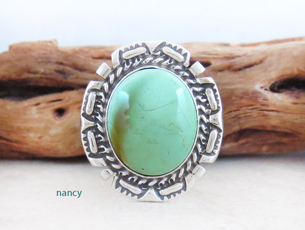 Native American Jewelry Turquoise & Sterling Silver Ring Sz 8.75 - 2152dt