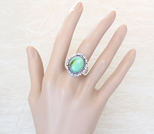 Image 1 of    Native American Jewelry Turquoise & Sterling Silver Ring Sz 8.75 - 2152dt