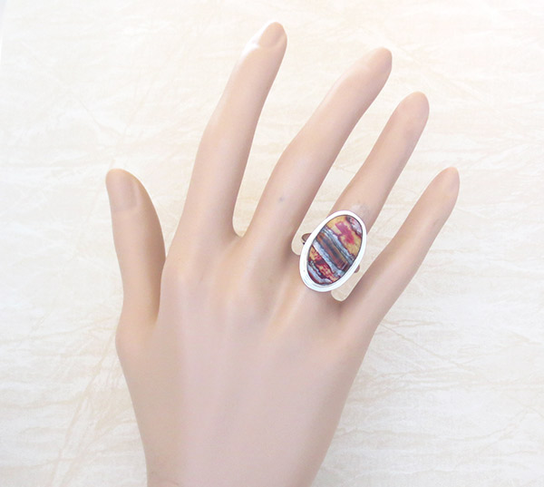 Image 1 of Native American Mammoth Tooth Stone & Sterling Silver Ring Sz 7 - 2150sn