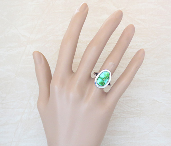 Image 1 of Turquoise & Sterling Silver Ring Sz 7 Native American Made Jewelry - 4193sn