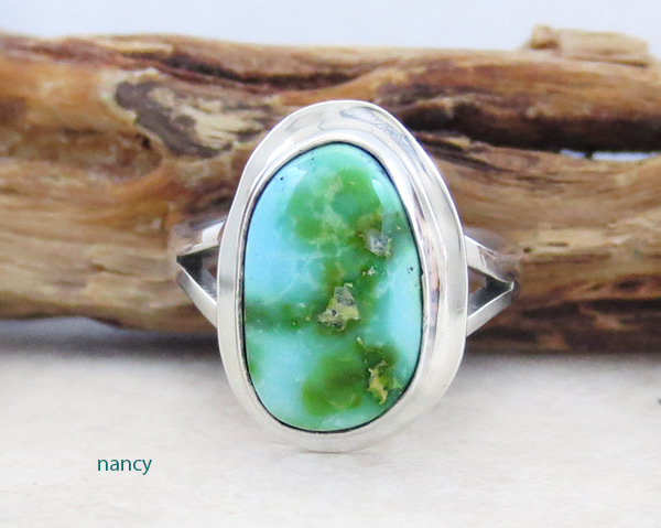 Turquoise & Sterling Silver Ring Sz 7 Native American Made Jewelry - 4193sn
