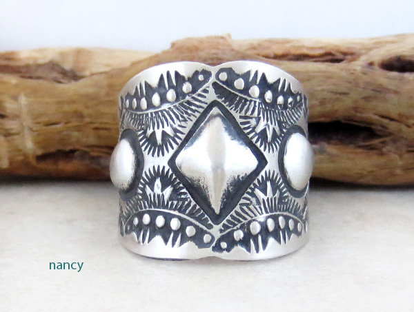 Stamped Sterling Silver Ring sz 11 Native American Jewelry - 2154rb