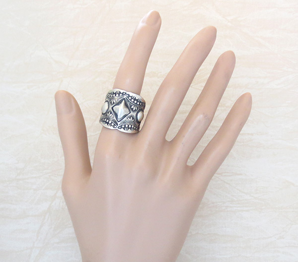Image 1 of Stamped Sterling Silver Ring sz 11 Native American Jewelry - 2154rb