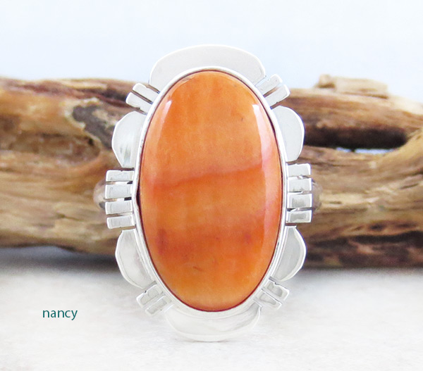 Image 0 of Native American Jewelry Spiny Oyster & Sterling Silver Ring Size 9  - 2153sn