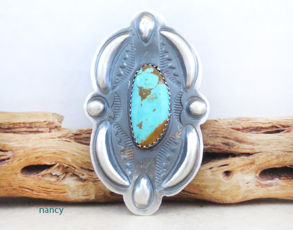 Image 0 of     Big Native American Jewelry Turquoise & Sterling Silve Ring Sz 9.25 - 4590rb