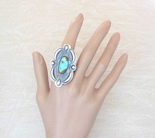 Image 1 of     Big Native American Jewelry Turquoise & Sterling Silve Ring Sz 9.25 - 4590rb