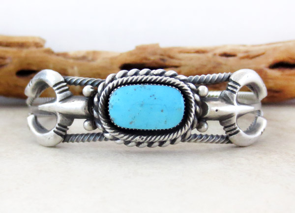 Turquoise & Sterling Silver Bracelet Native American Jewelry - 5019rb