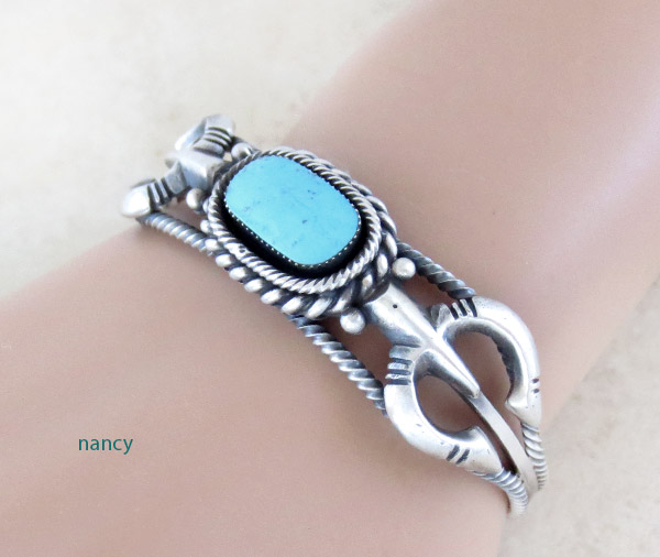 Image 1 of     Turquoise & Sterling Silver Bracelet Native American Jewelry - 5019rb