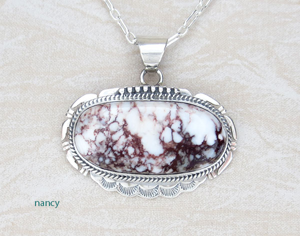 Image 0 of Native American Jewelry Big Wild Horse Stone & Sterling Silver Pendant - 4591sn