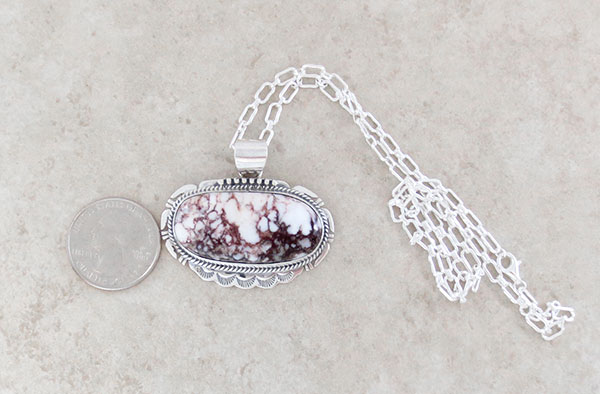 Image 1 of Native American Jewelry Big Wild Horse Stone & Sterling Silver Pendant - 4591sn