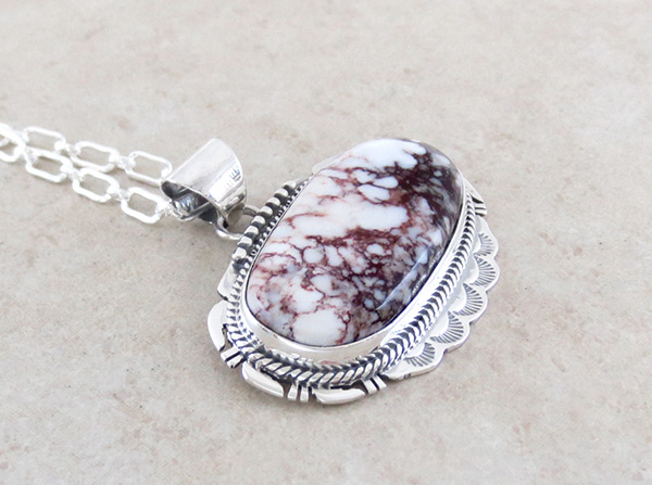 Image 2 of Native American Jewelry Big Wild Horse Stone & Sterling Silver Pendant - 4591sn