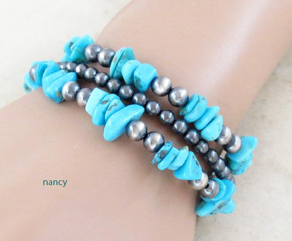 Image 0 of Turquoise & Sterling Silver Desert Pearls Bracelet Native American - 4675ft