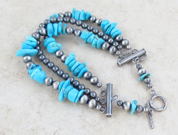 Image 1 of Turquoise & Sterling Silver Desert Pearls Bracelet Native American - 4675ft