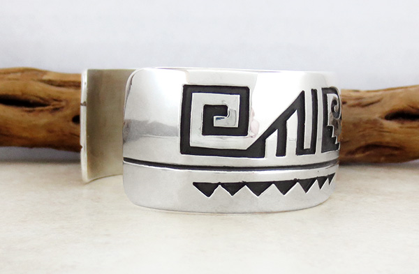 Image 2 of Large Sterling Silver Overlay Bracelet Native American Jewelry - 4674rb