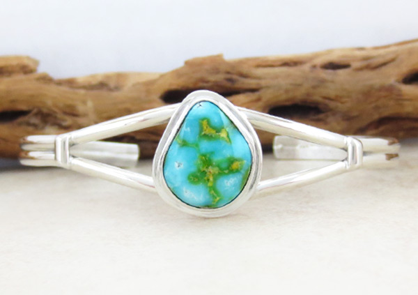 Image 0 of         Turquoise & Sterling Silver Bracelet Native American Jewelry - 5038sn