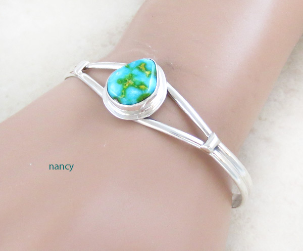 Image 1 of         Turquoise & Sterling Silver Bracelet Native American Jewelry - 5038sn