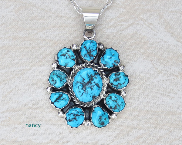 Image 0 of     Native American Jewelry Turquoise Cluster & Sterling Silver Pendant - 5036sn