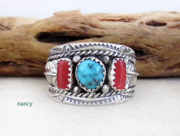 Image 0 of    Sterling Silver & Turquoise Coral Ring Sz 10 Native American Jewelry - 4680rb