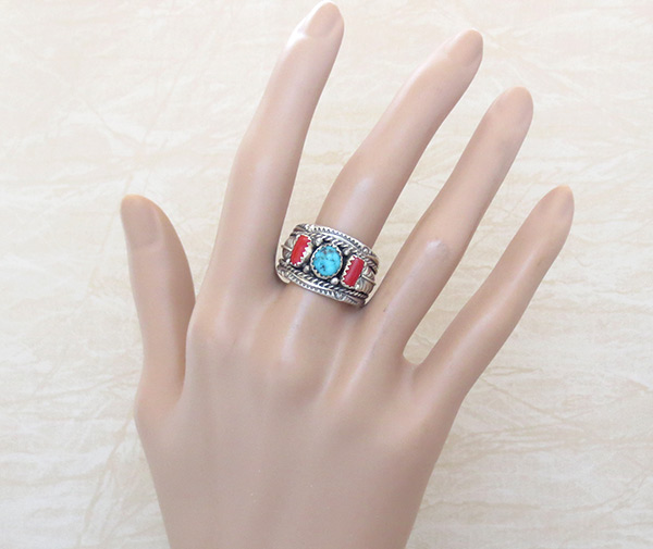 Image 1 of    Sterling Silver & Turquoise Coral Ring Sz 10 Native American Jewelry - 4680rb