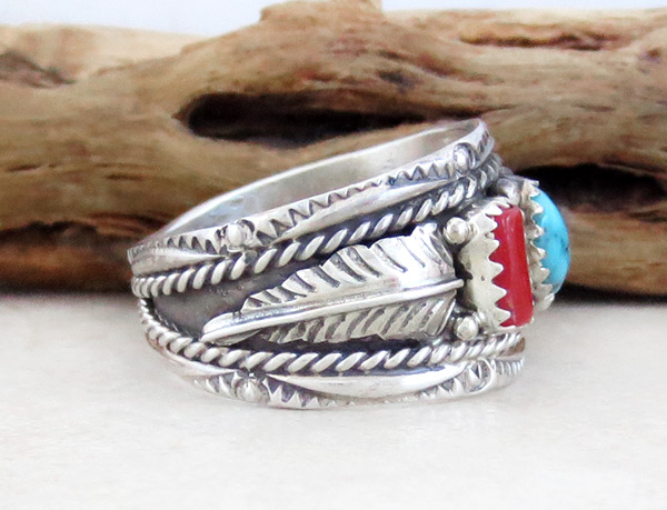 Image 2 of    Sterling Silver & Turquoise Coral Ring Sz 10 Native American Jewelry - 4680rb