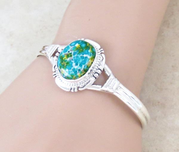 Image 1 of Turquoise & Sterling Silver Bracelet Native American Jewelry - 4679sn
