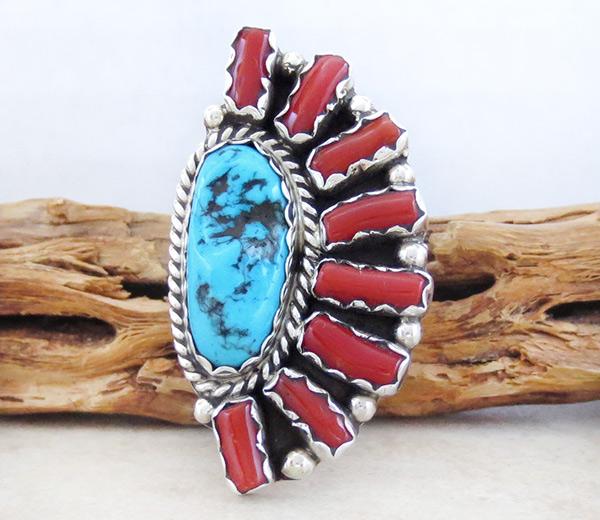 Image 0 of     Large Turquoise Coral & Sterling SIlver Ring Sz 8.75 Navajo Jewelry - 5039pl