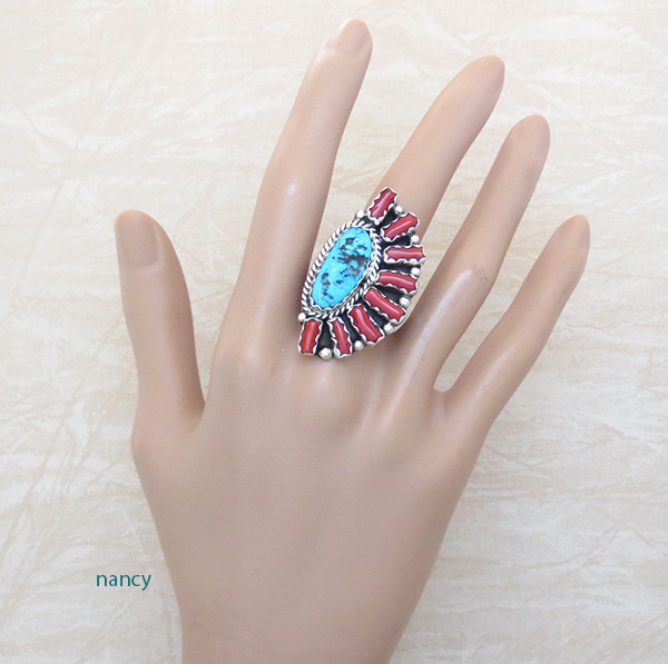 Image 1 of       Big Turquoise Coral & Sterling Silver Ring Sz 8.75 Navajo Jewelry - 5039pl