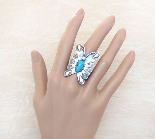 Image 1 of     Native American Turquoise & Sterling Silver Butterfly Ring Sz 8.25 - 1215rb