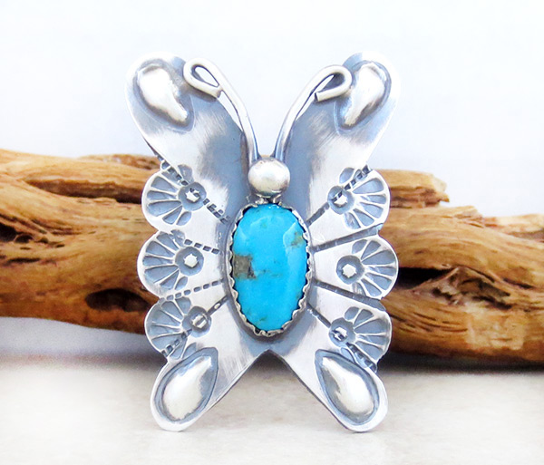 Image 0 of     Native American Turquoise & Sterling Silver Butterfly Ring Sz 8.25 - 1215rb