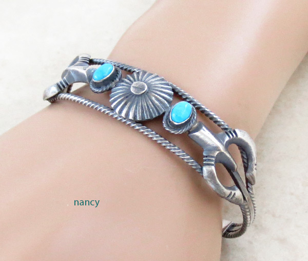 Turquoise & Sterling Silver Bracelet Native American Jewelry - 5037rb
