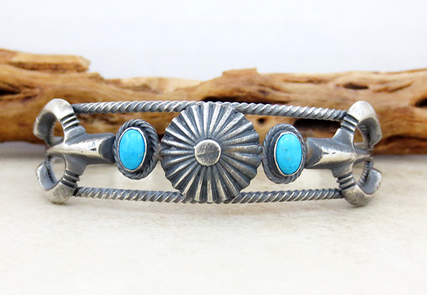 Image 1 of      Turquoise & Sterling Silver Bracelet Native American Jewelry - 5037rb