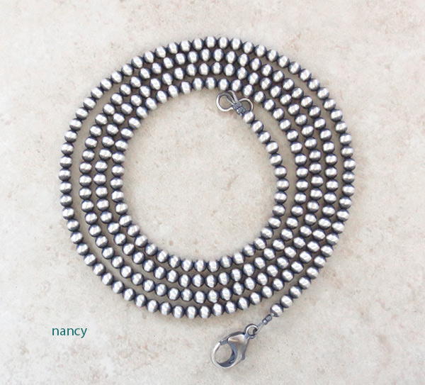 Sterling Silver Pearl Bead Necklace 36 Native American Jewelry - 4592ft