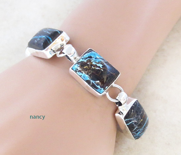 Image 0 of Turquoise & Sterling Silver Link Bracelet Native American Jewelry - 5042sn