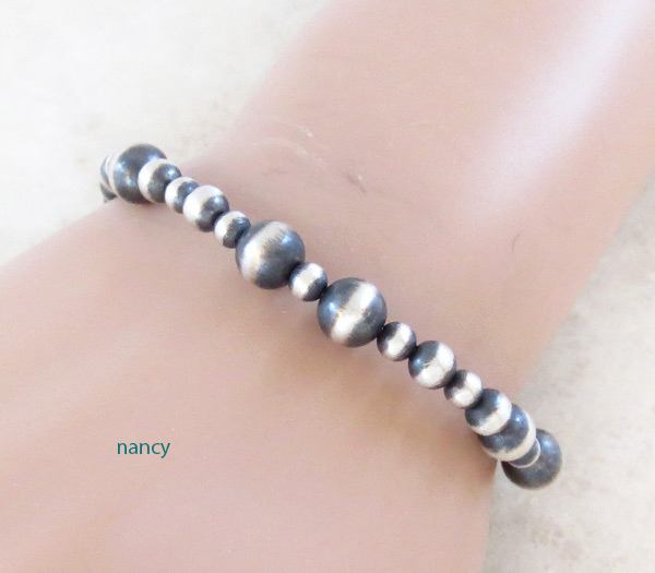 Stretchy Sterling Silver Bead Bracelet Native American Jewelry - 3495sn