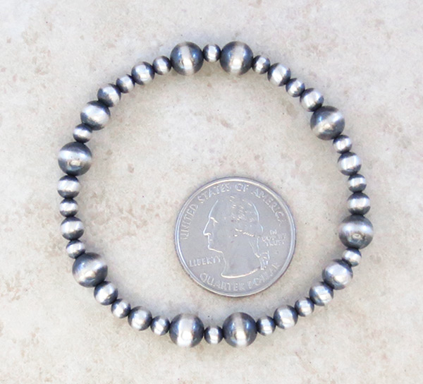 Image 1 of Stretchy Sterling Silver Bead Bracelet Native American Jewelry - 3495sn