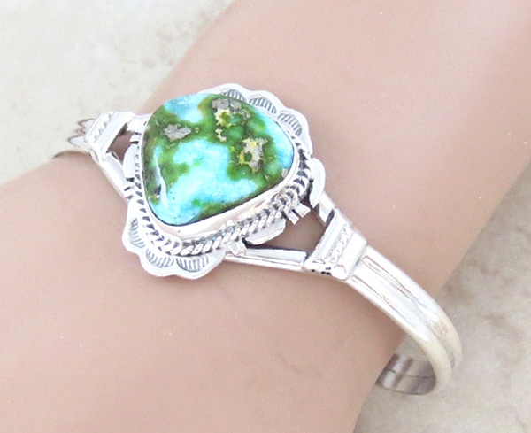 Image 1 of        Turquoise & Sterling Silver Bracelet Native American Jewelry - 5040sn