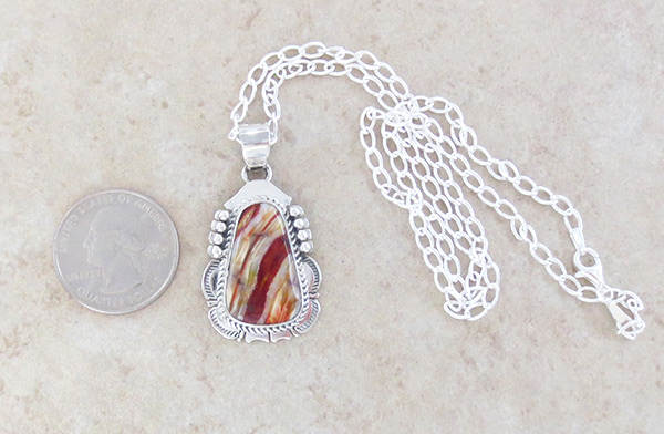 Image 1 of   Native American Jewelry Mammoth Tooth Stone & Sterling Silver Pendant - 5041sn
