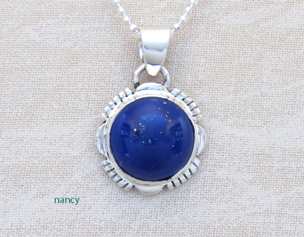 Small Lapis & Sterling Silver Pendant w/Chain Native American Jewelry - 4938at
