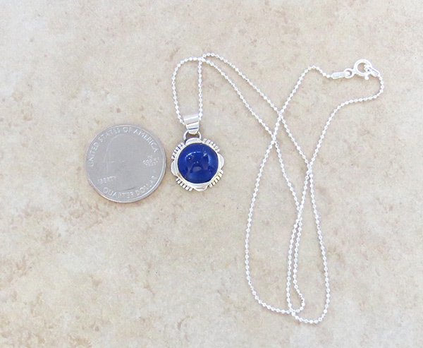 Image 1 of   Small Lapis & Sterling Silver Pendant w/Chain Native American Jewelry - 4938at