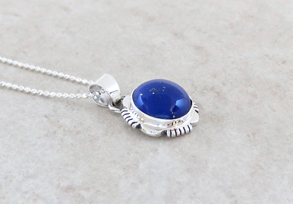 Image 2 of   Small Lapis & Sterling Silver Pendant w/Chain Native American Jewelry - 4938at