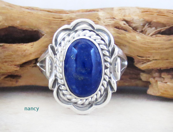 Small Lapis & Sterling Silver Ring Sz 8 Native American Jewelry - 5308at
