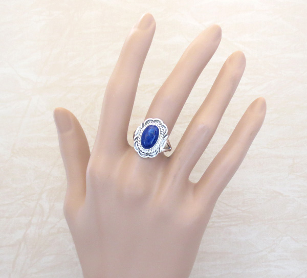 Image 1 of      Small Lapis & Sterling Silver Ring Sz 8 Native American Jewelry - 5308at