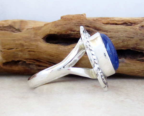 Image 2 of      Small Lapis & Sterling Silver Ring Sz 8 Native American Jewelry - 5308at