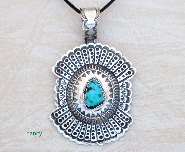 Turquoise & Sterling Silver Pendant Native American Jewelry - 4937rb