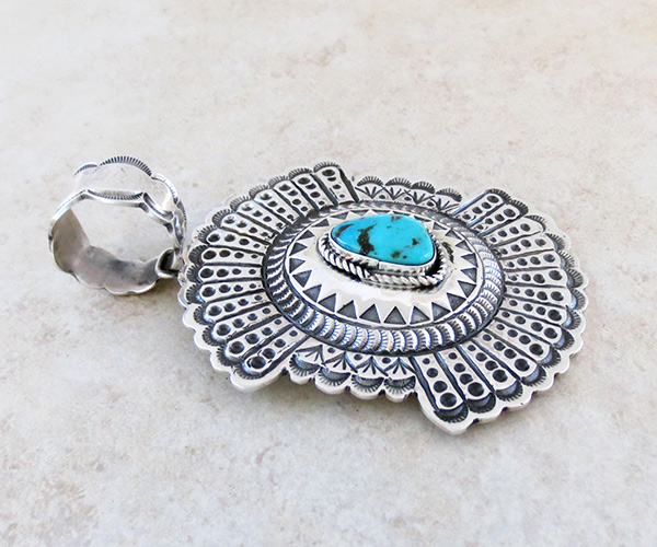 Image 2 of Turquoise & Sterling Silver Pendant Native American Jewelry - 4937rb