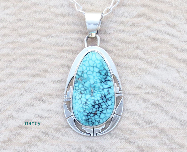 Native American Jewelry Turquoise & Sterling Silver Pendant W/ Chain - 5309sn